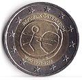 2euro austria commemorativo 10anni euro